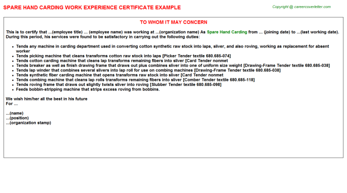 Spare Hand Carding Job Experience Letter Template