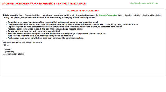 Machinecoremaker Experience Letter Template