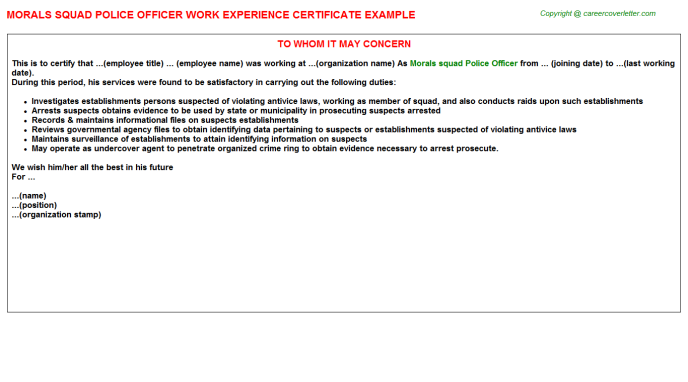 Morals squad Police Officer Job Experience Letter Template