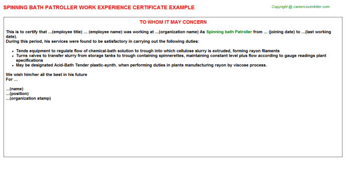 Spinning Bath Patroller Experience Letter Template