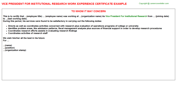 vice president for institutional research experience letter template