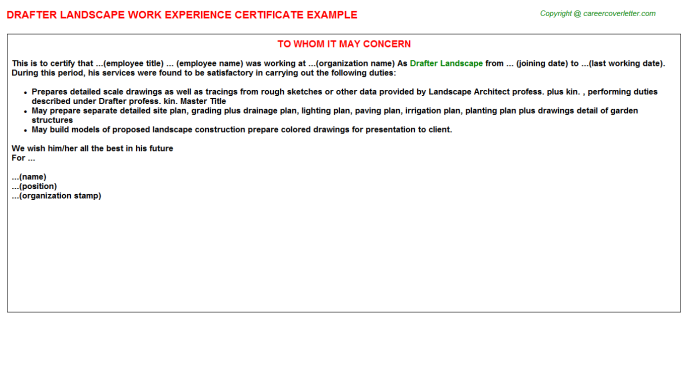 Drafter Landscape Work Experience Letter Template