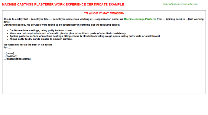 machine castings plasterer experience letter template