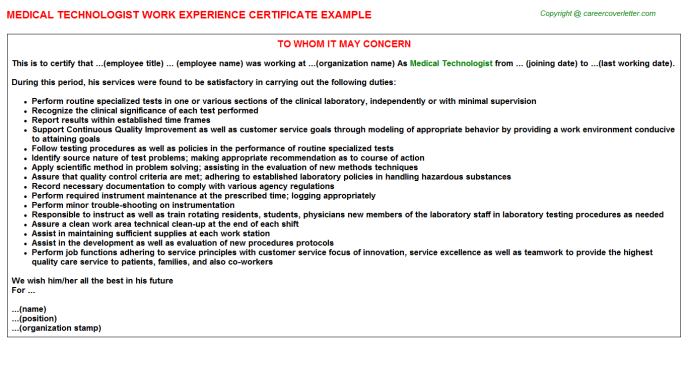 Medical Technologist Experience Letter Template
