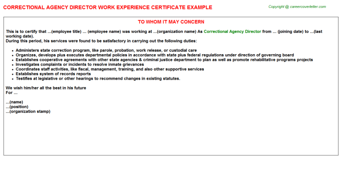 correctional agency director experience letter template