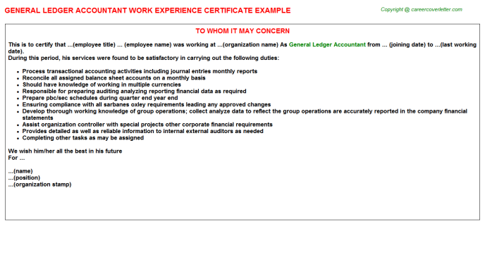 General Ledger Accountant Work Experience Certificate Template