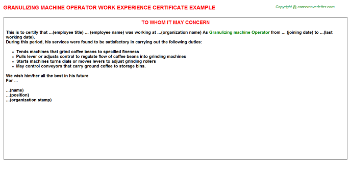 granulizing machine operator experience letter template