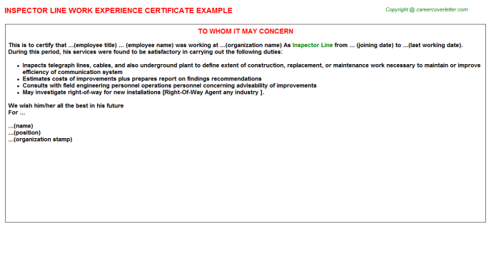 Inspector Line Experience Letter Template