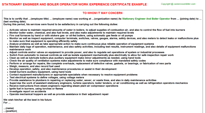 Stationary Engineer And Boiler Operator Experience Letter Template