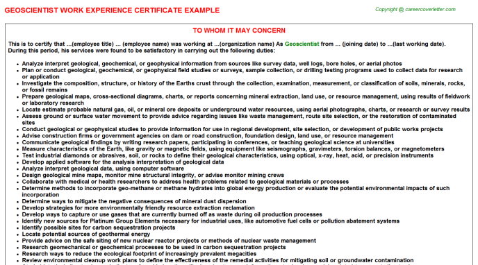 Geoscientist Experience Letter Template