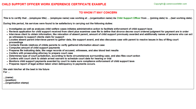 child support officer experience letter template