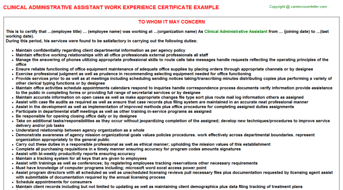 Clinical administrative assistant work experience letter (#25661)