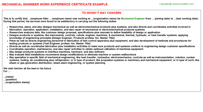 Mechanical Engineer Experience Certificate Template