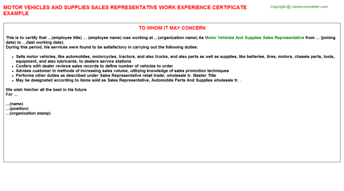 Motor Vehicles And Supplies Sales Representative Experience Letter Template