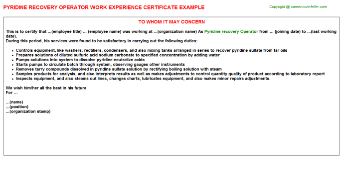 pyridine recovery operator experience letter template