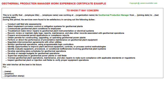 Geothermal Production Manager Experience Letter Template