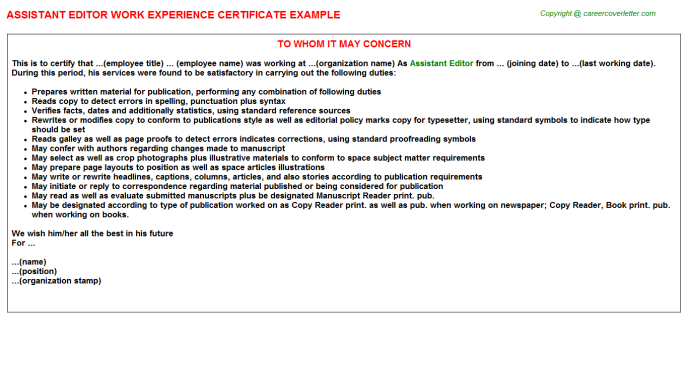 Job Experience Letter Sample from files.jobdescriptionsandduties.com