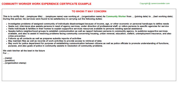 community worker experience letter template