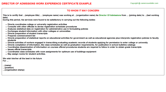 Director of admissions work experience letter (#1168)
