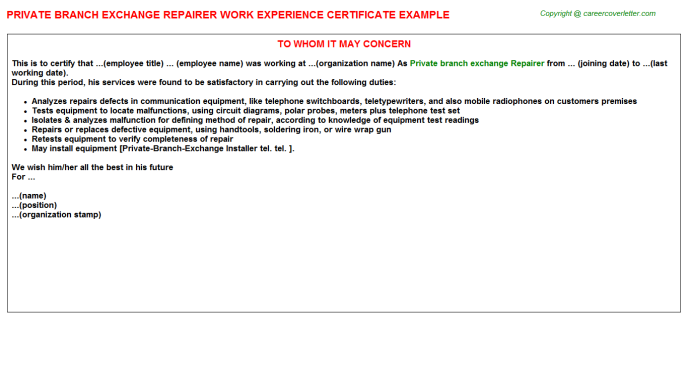 Private branch exchange Repairer Experience Letter Template
