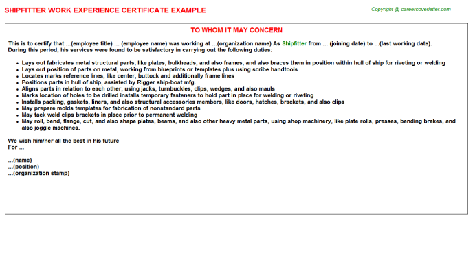 Shipfitter Experience Letter Template