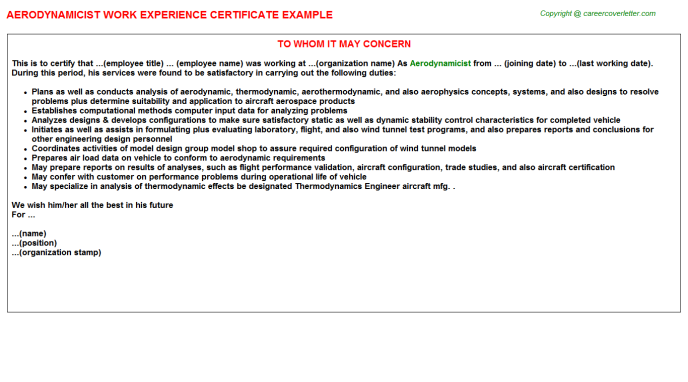 Aerodynamicist Experience Letter Template