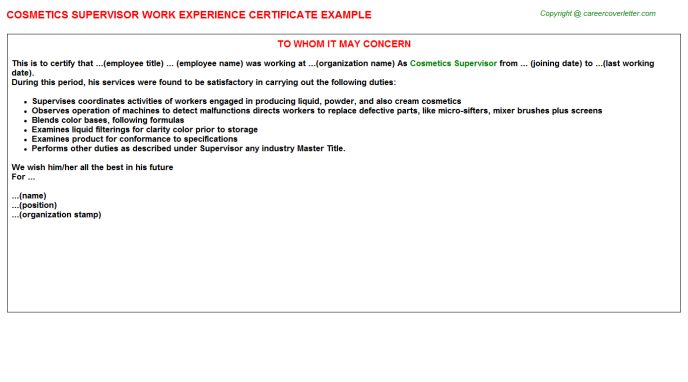 cosmetics supervisor experience letter template