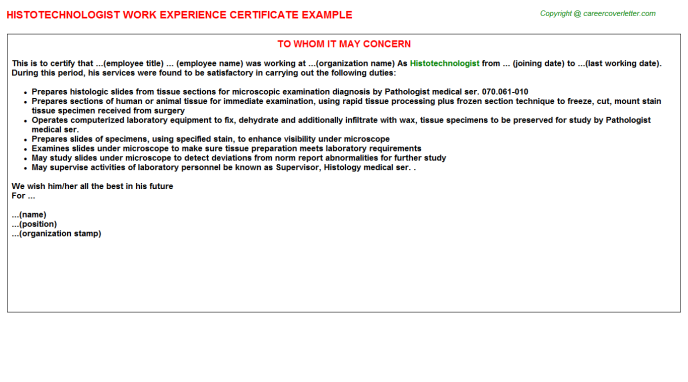 Histotechnologist Experience Letter Template