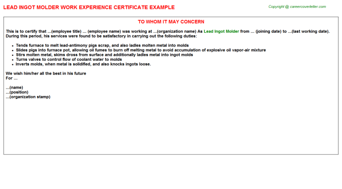 Lead Ingot Molder Experience Letter Sample | Experience