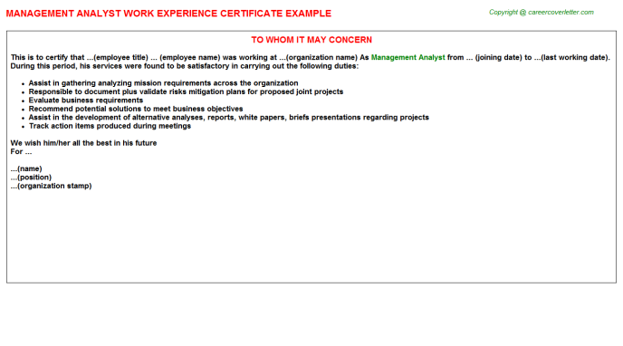 Management Analyst Experience Letter Template