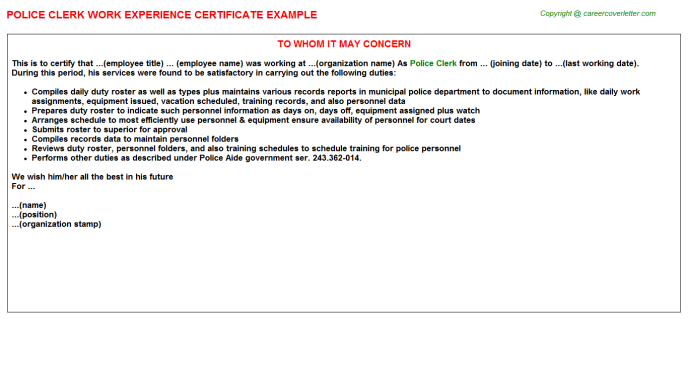 police clerk experience letter template