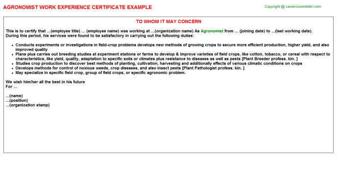 Agronomist Experience Letter Template