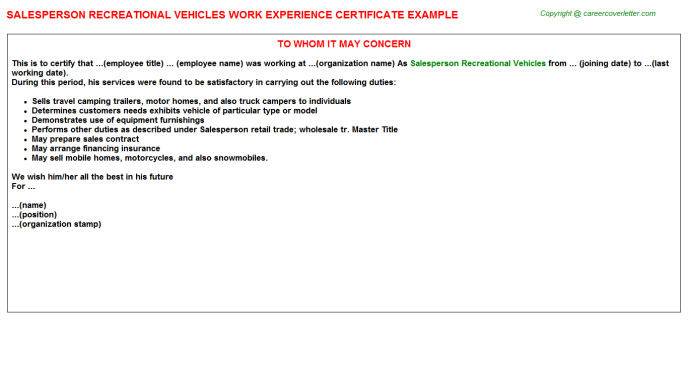 Salesperson Recreational Vehicles Experience Letter Template