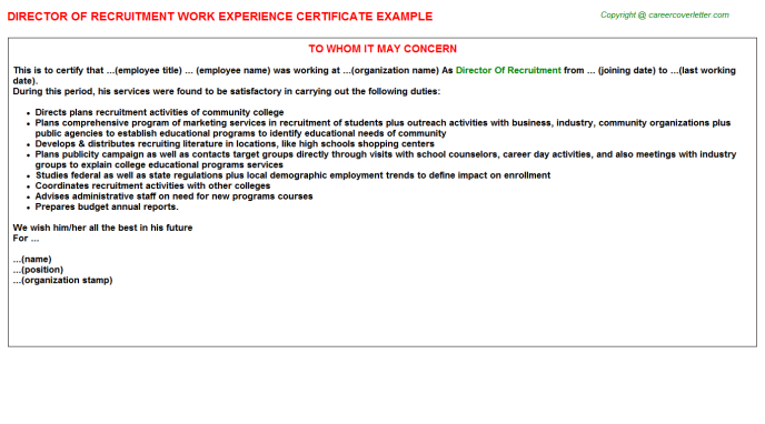 director of recruitment experience letter template