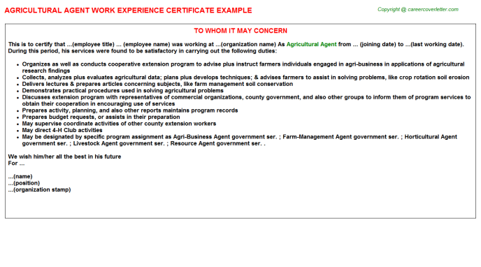 Agricultural Agent Work Experience Certificate Template