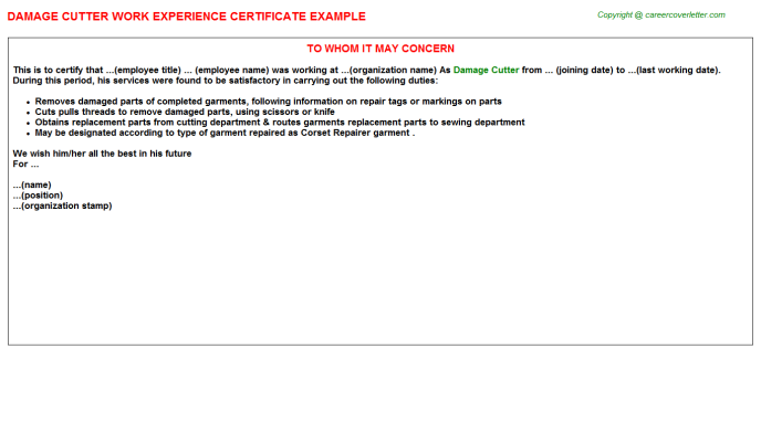 Damage Cutter Work Experience Letter