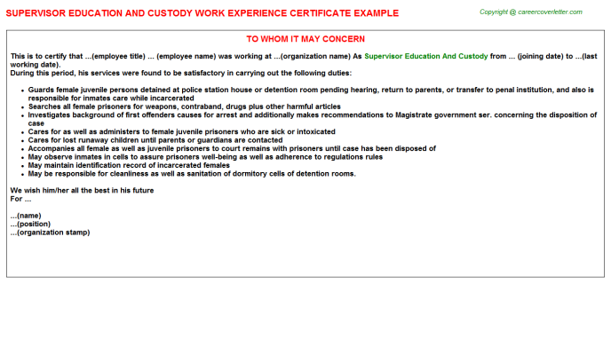 Supervisor Education And Custody Experience Letter Template