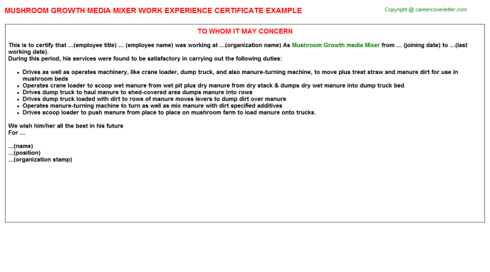 Mushroom Growth media Mixer Experience Letter Template