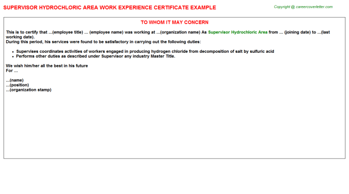 supervisor hydrochloric area experience letter template