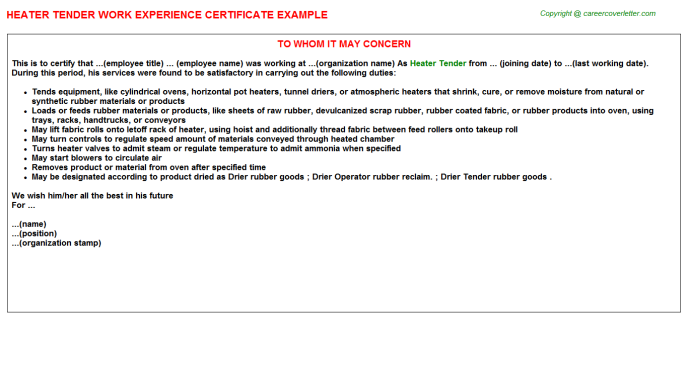 Heater Tender Experience Letter Template