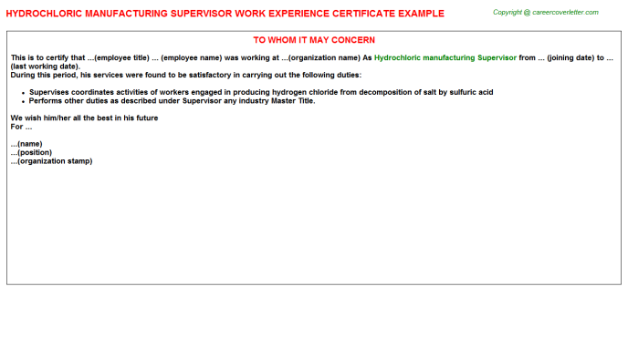 hydrochloric manufacturing supervisor experience letter template