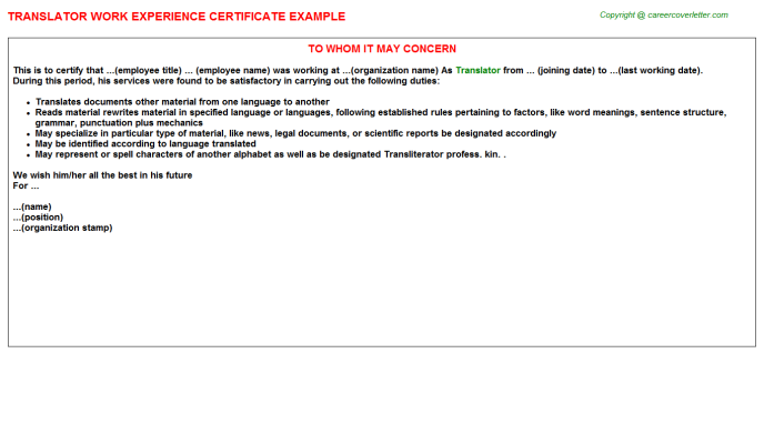 Translator Work Experience Certificate Template