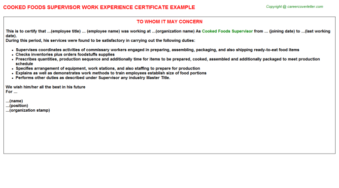 cooked foods supervisor experience letter template