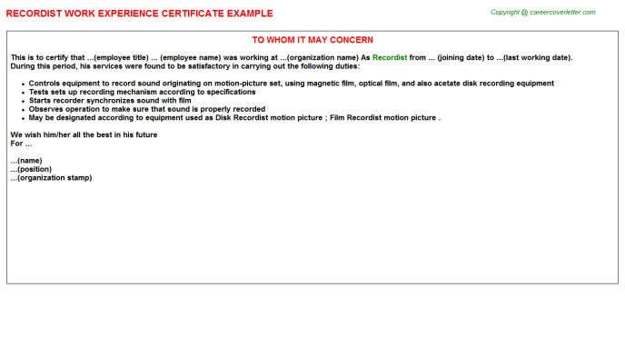 Recordist Experience Letter Template