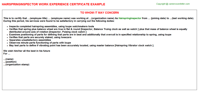 Hairspringinspector Experience Letter Template