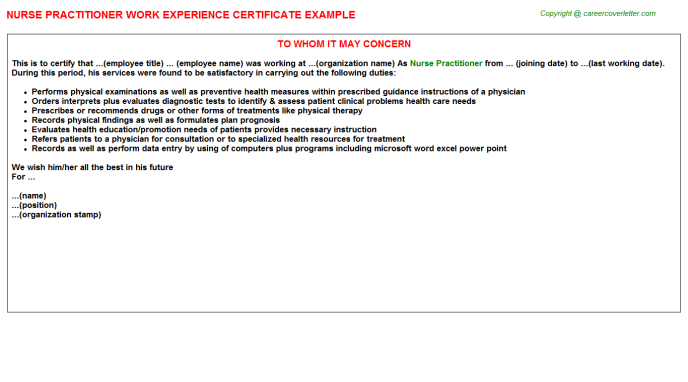Nurse Practitioner Experience Letter Template