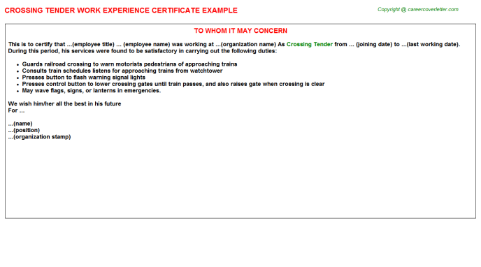 Crossing Tender Experience Letter Template