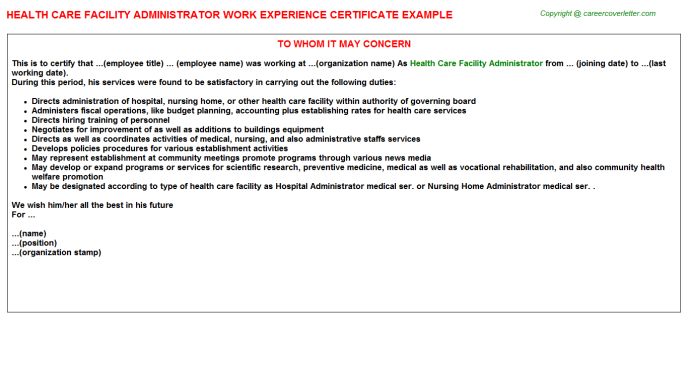 Health Care Facility Administrator Work Experience Letter Template