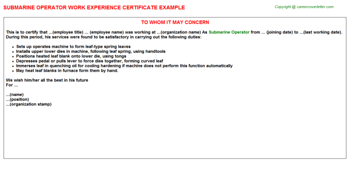 Submarine Operator Experience Letter Template