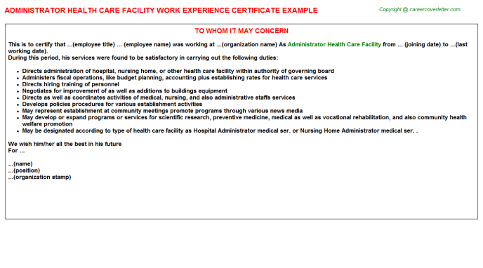Administrator Health Care Facility Experience Letter Template